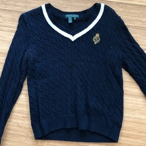 Ralph Lauren Cable Knit Sweater w/ Lapel Insignia